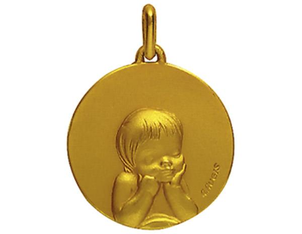 Médaille Ronde Or Jaune 750 millièmes - Enfant - Création AUGIS