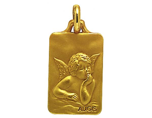 Médaille Rectangulaire Or Jaune 750 millièmes - Ange de Raphaël - Création AUGIS.