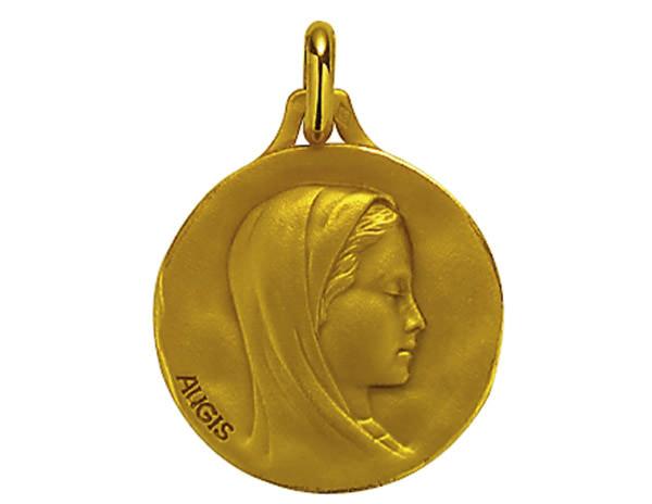 Médaille Cachet Or Jaune 750 millièmes - Vierge - Création AUGIS.