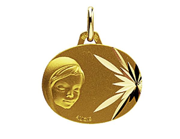Médaille Ovale Or Jaune 750 millièmes - Vierge - Création AUGIS.