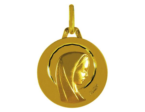 Médaille Ronde Or Jaune 750 millièmes - Vierge - Création AUGIS.