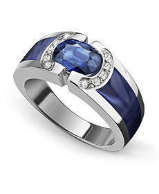 Bague ETNAA - Or blanc, Diamant, Saphir et Résine nacrée bleue