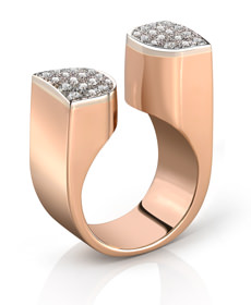 Bague MANHATTAN - Or rose, Diamant serti Or blanc - Création CLOZEAU