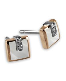 Boucles d'oreille HELENA - Or ose, or blanc, Diamant & Résine nacrée blanche - création CLOZEAU
