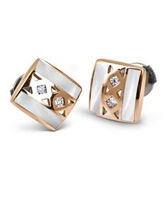 Boucles d'oreille MOSAIKA - Or rose, résine nacrée & Diamant - Création CLOZEAU