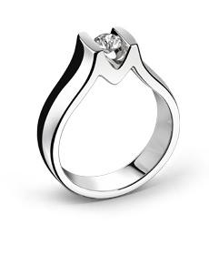 Solitaire Or blanc & Diamant - Création CLOZEAU