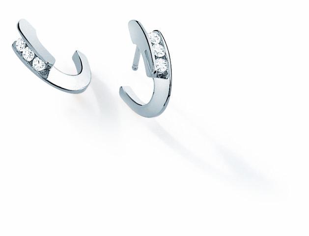 oucles d'oreille ENVOL Trilogy - Or blanc & Diamant - Création GAREL