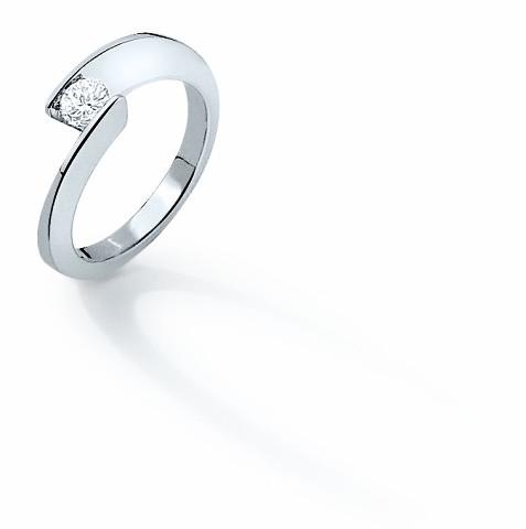 Solitaire Envol - Or blanc & Diamant - Création Garel