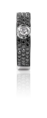 Bague GRAPHIQUE Pavage - Or blanc et diamant noir et blanc - Création GAREL