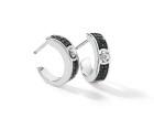 Boucles d'oreille GRAPHIQUE Pavage - Or blanc & Diamant noir et blanc - Création GAREL