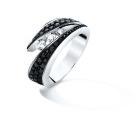 Bague NEIMA Pavage - Or blanc & Diamant noir et blanc- Création GAREL