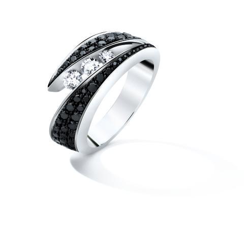 Bague or gris diamant blanc et noir