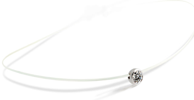 Collier ONLY DIAMOND sur fil transparent - Or blanc & Diamant - Création GAREL