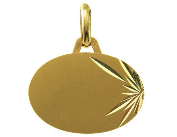 Médaille Laïque Ovale Or Jaune 750 millièmes - Création AUGIS.