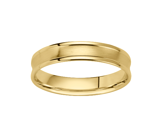 Alliance Or Jaune 750 millièmes. Bords polis, centre concave satiné. Existe en plusieurs largeurs et dans d'autres couleurs d'or.