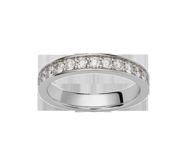 Alliance Or blanc & Diamants. Sertie griffes