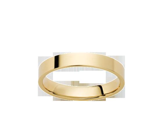 Alliance Ruban Plat Or Jaune Satiné 750 millièmes. Existe dans plusieurs couleurs d'or, dans plusieurs largeurs et en finition polie brillante.