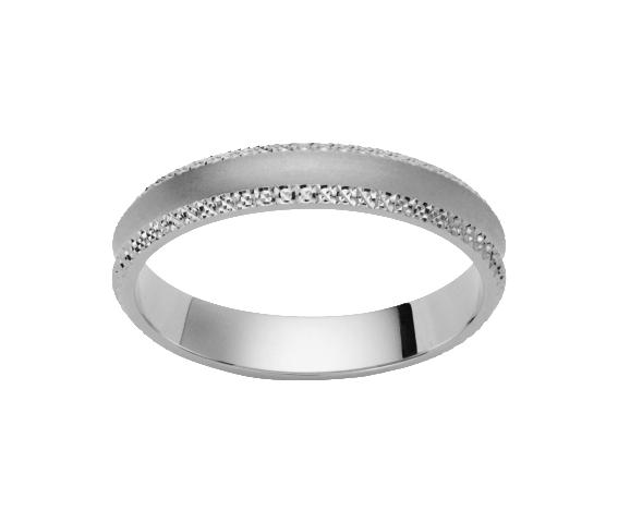 Alliance Or Blanc 750 millièmes ciselée. Centre concave satiné. Existe en plusieurs largeurs et dans d'autres couleurs d'or.