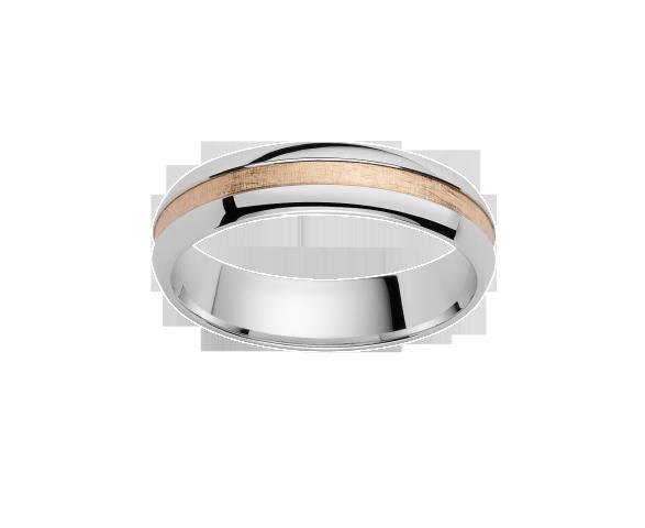 Alliance Or Blanc. Centre Or Rose satiné 750 millièmes . Existe en plusieurs largeurs et dans d'autres couleurs d'or.