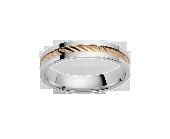 Alliance Striée Or Blanc & Or Jaune 750 millièmes. Existe en plusieurs largeurs et dans d'autres couleurs d'or.
