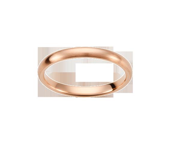 Alliance Demi-Jonc. Or Rose 750 millièmes. Satiné. Existe dans plusieurs couleurs d'or et en finition polie brillante.