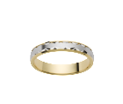 Alliance ciselée Or Blanc & Or Jaune 750 millièmes. Existe en plusieurs largeurs et dans d'autres couleurs d'or.