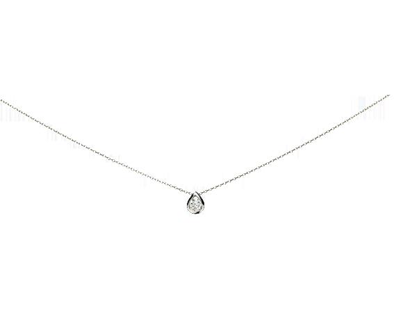 Collier Or blanc et Diamant. Existe en Or Jaune et Or Rose.